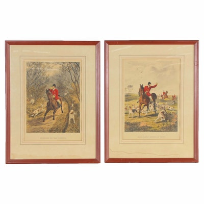 Edward Gilbert Hester Collotypes of Fox Hunting Scenes, 19th/20th Century