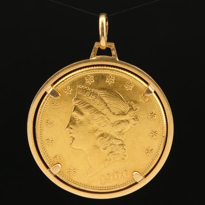 1900-S Liberty Head $20 Gold Double Eagle Pendant with 18K Frame
