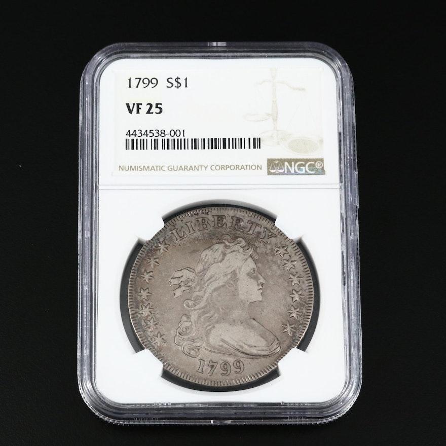 NGC Graded VF25 1799 Draped Bust Silver Dollar