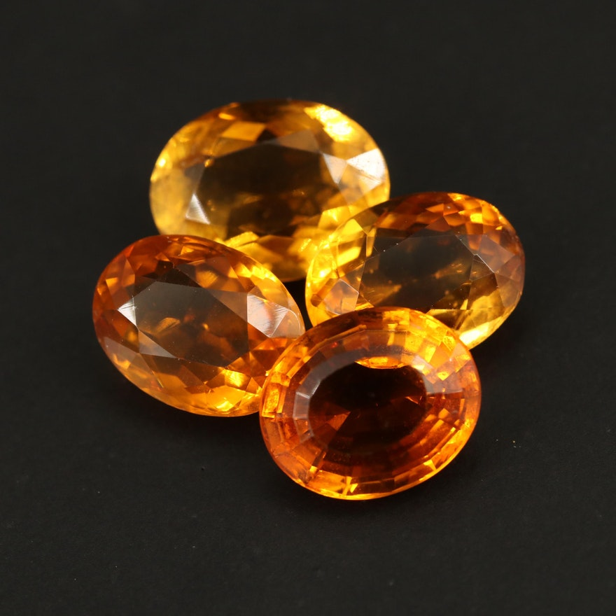 Loose 18.09 CTW Oval Faceted Citrines