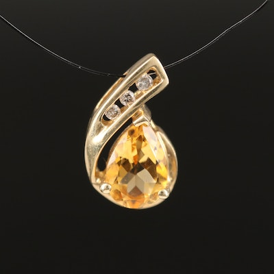 10K Citrine and Diamond Pendant