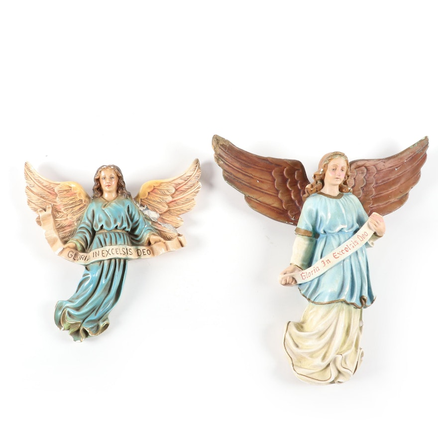 "Chalkware ""Gloria In Excelsis Deo"" Angel Wall Décor"