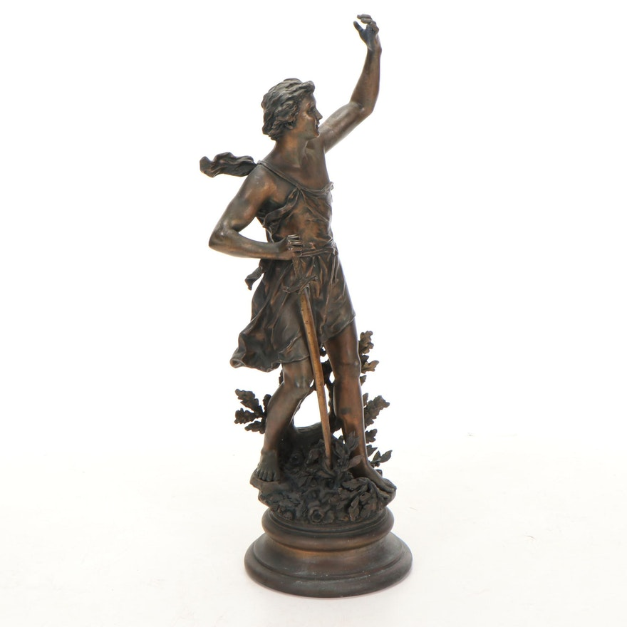 Bronze Sculpture after Ernest Rancoulet of Hero with Sword, 20th Century