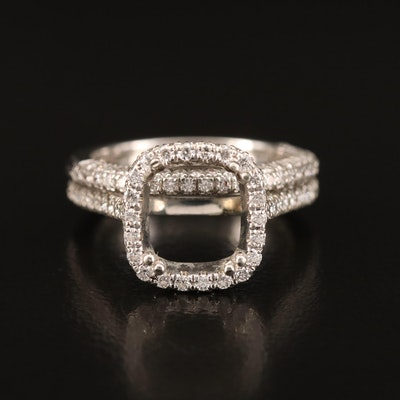 Mark Patterson 18K 1.33 CTW Diamond Semi-Mount Ring and Band Set