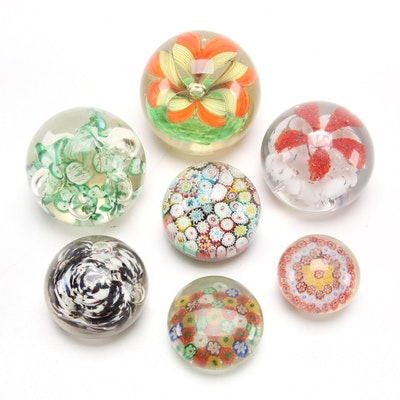 Millefiori and Floral Glass Paperweights, Early to Mid 20th Century