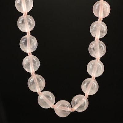 Single Strand Rose Quartz Beaded Necklace