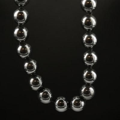 Single Strand Beaded Hematite Necklace