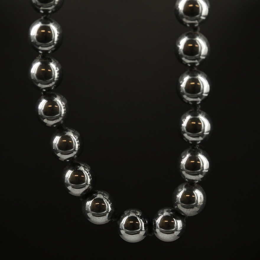 Single Strand Beaded Hematite Necklace