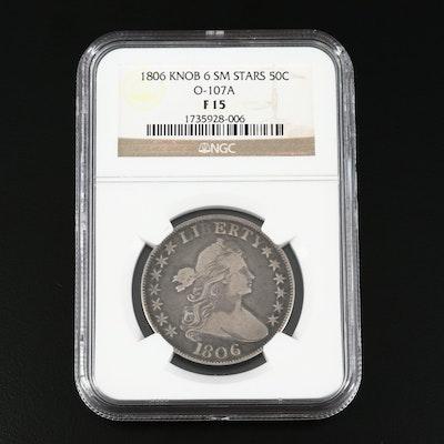 NGC Graded F15 1806 Draped Bust Silver Half Dollar