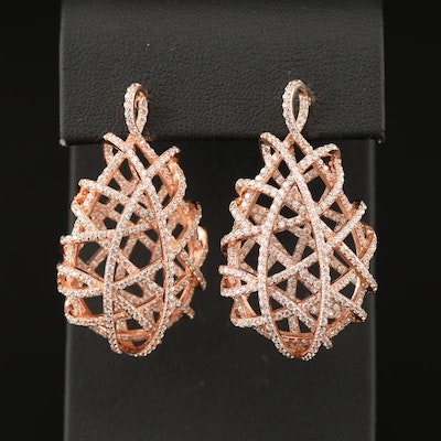 Sterling Cubic Zirconia Wirework Drop Earrings