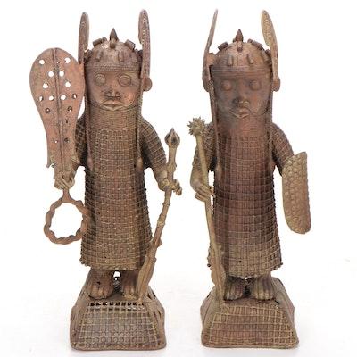 Benin Kingdom Style Brass Figures, West Africa