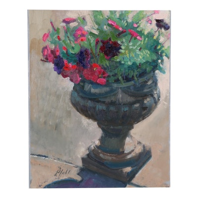 "William Pfahl Oil Painting ""Pink and Purple Petunias,"" 2020"