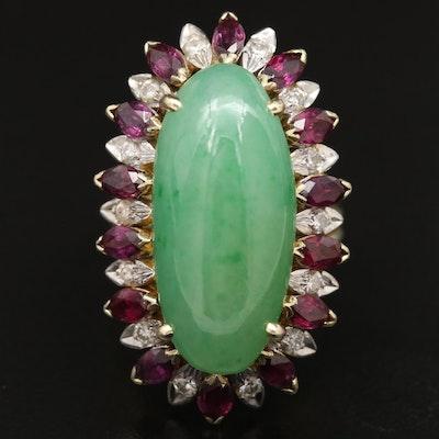 14K Jadeite, Ruby and Diamond Ring