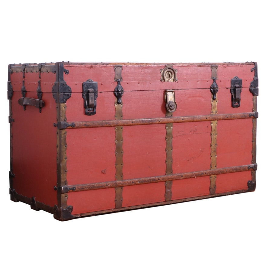 Henry Likly & Co. New York Painted Wood Steamer Trunk, Late 19th/Early 20th C.