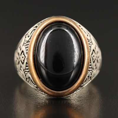Sterling Silver Bezel Set Black Onyx Ring