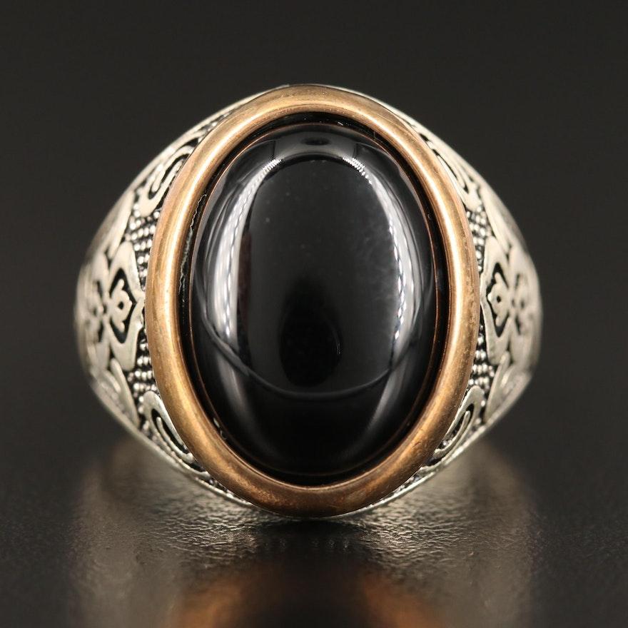Sterling Silver Bezel Set Black Onyx Ring