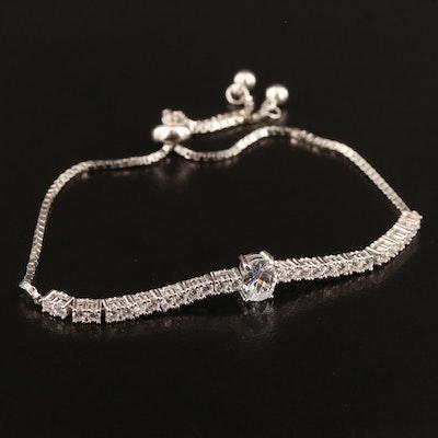 Sterling Silver Cubic Zirconia Slide Bracelet