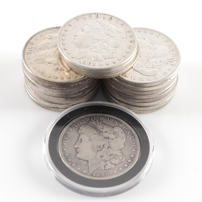 Twenty Morgan Silver Dollars Featuring 1890-CC