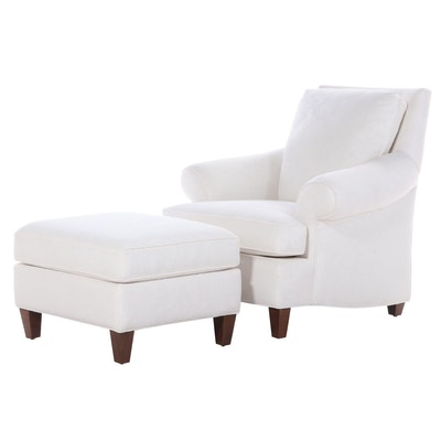 Contemporary Patterned Linen Upholstered Lounge Chair with Ottoman