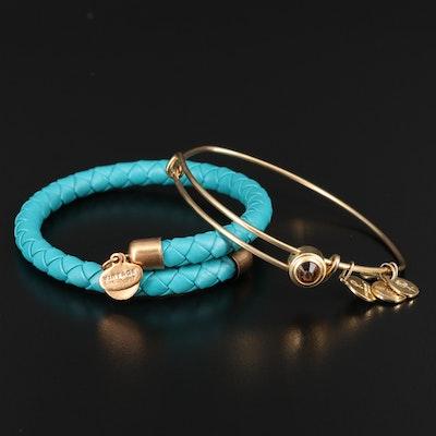 Alex & Ani Bypass Leather Bracelet and Expandable Bangle with Rhinestone