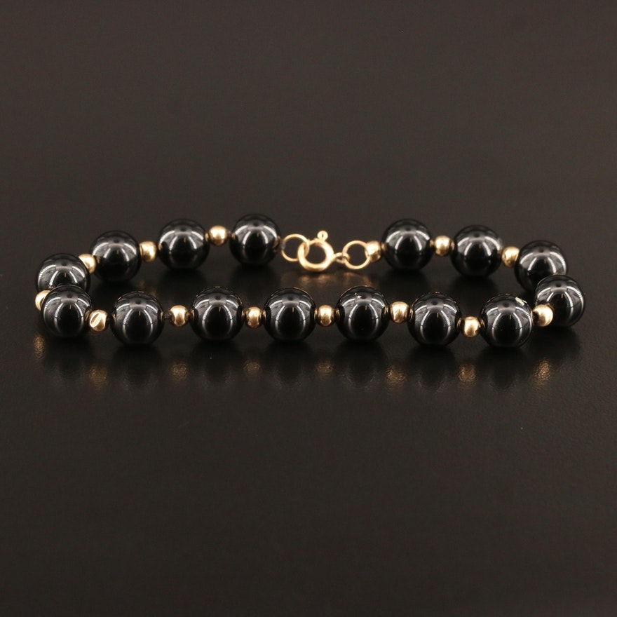 Black Onyx Beaded Bracelet with 14K Accents