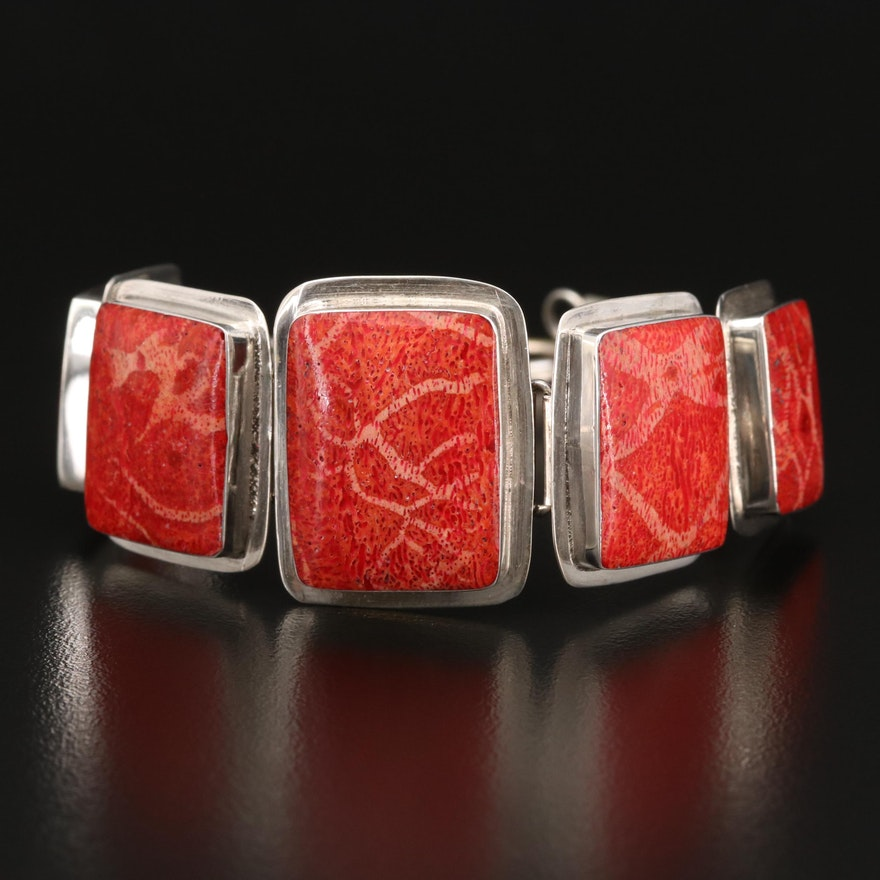 Sterling Coral and Resin Graduated Bracelet