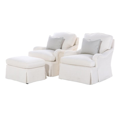 Pair of Upholstered Lounge Chairs and Ottoman with Tailored Skirt