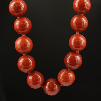 Endless Hand Knotted, Beaded Jasper Necklace