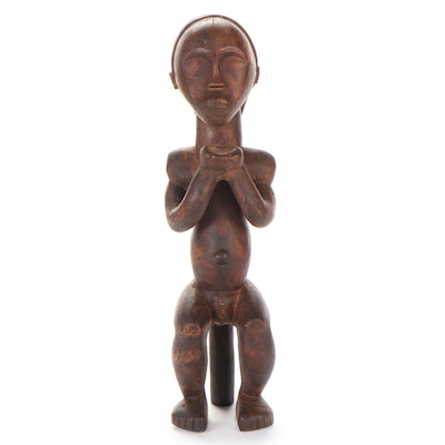 Fang Style Carved Wood Guardian Figure, Central Africa