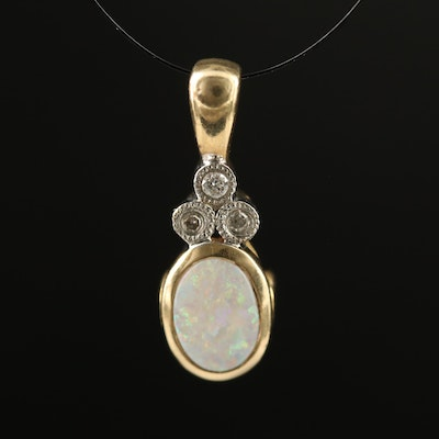 10K Opal and Diamond Pendant