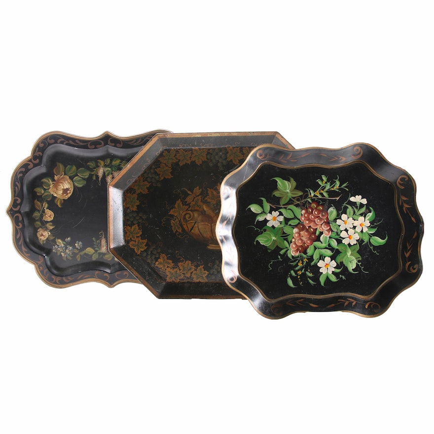 Pilgrim Art and Other Hand-Painted Toleware Trays, Mid-20th Century
