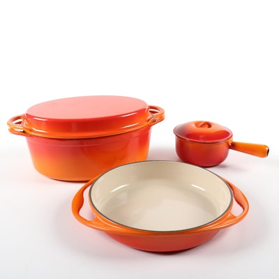 "Le Creuset ""Flame"" Oval Oven with Grill Pan Lid, Tarte Tatin and Sauce Pan"