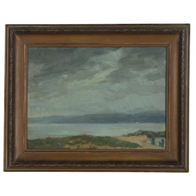 Louis Endres Oil Painting of Lake Landscape, Early 20th Century