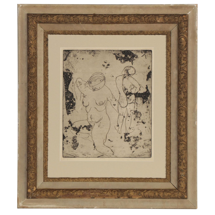 """Lady Martha Smith Etching with Aquatint """"Evelyn,"""" Late 20th Century"""
