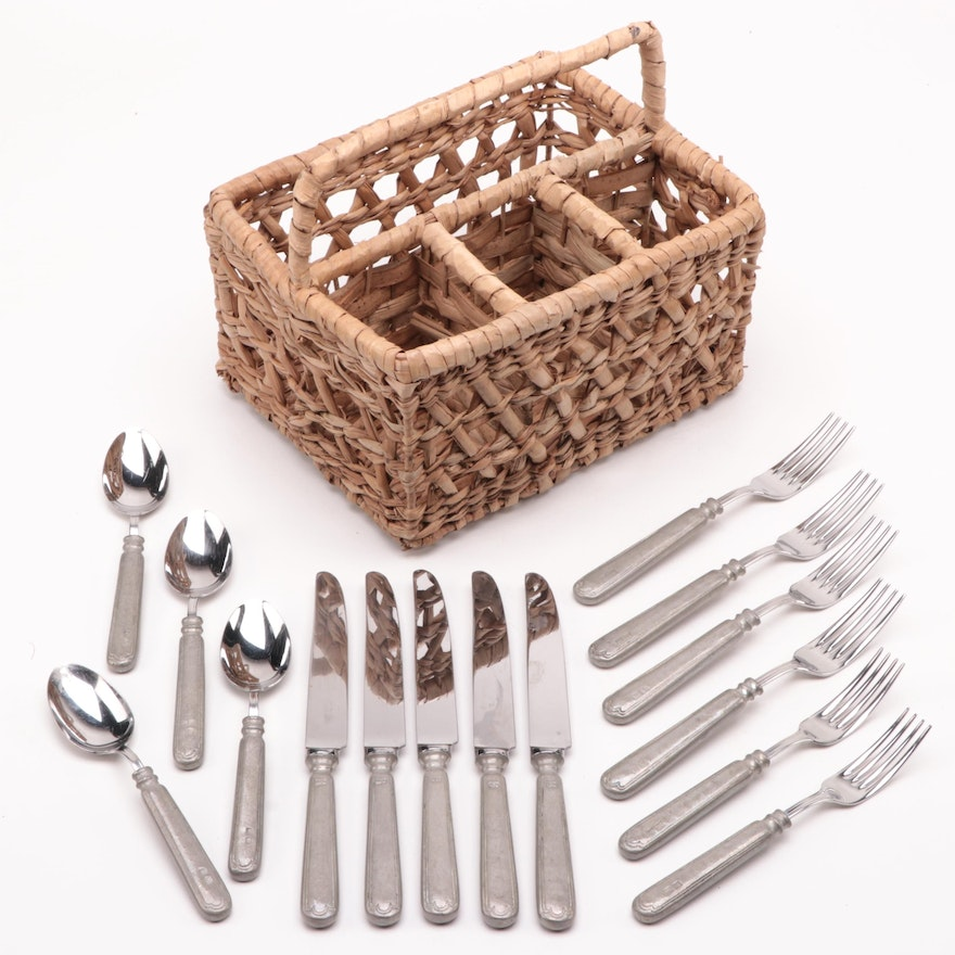 """Italian Val Petro """"Filet"""" Pewter and Stainless Flatware with Wicker Caddy"""