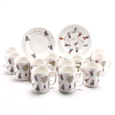 Twelve Days of Christmas Plates and Mugs, Contemporary