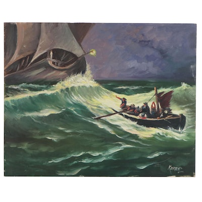 Oil Painting of Two Boats in Rough Seas