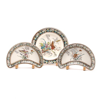 W.T. Copeland & Sons Butterfly and Daisy Border Earthenware Plates, Late 19th C.