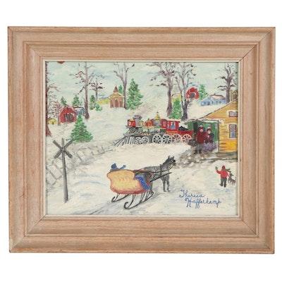 "Theresa Hafferkamp Folk Style Oil Painting ""Meeting Grandma,"" Late 20th Century"