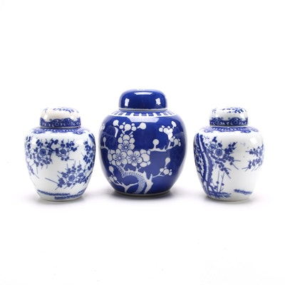 Petite Japanese Blue and White Porcelain Melon Jars