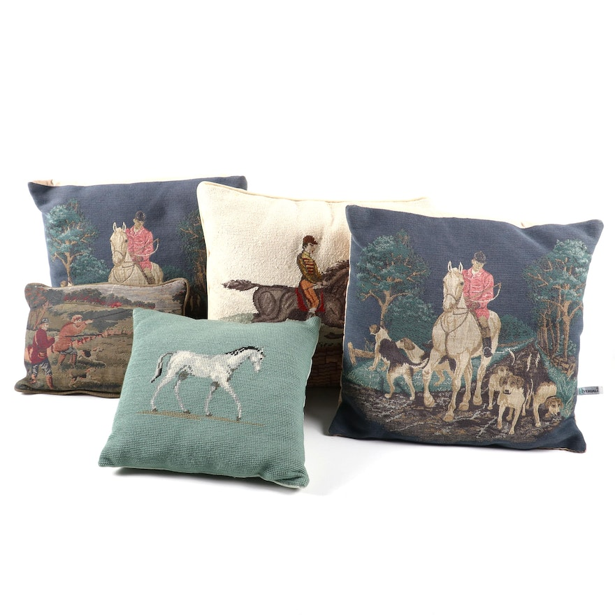Equestrian Needlepoint, Petit Point and Tapestry Decorative Pillows