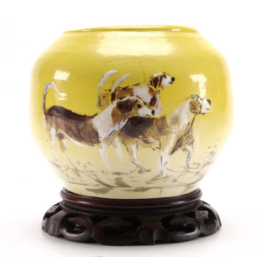 Stefan Springs Hand-Painted Hunting Dog Earthenware Pot, 1992