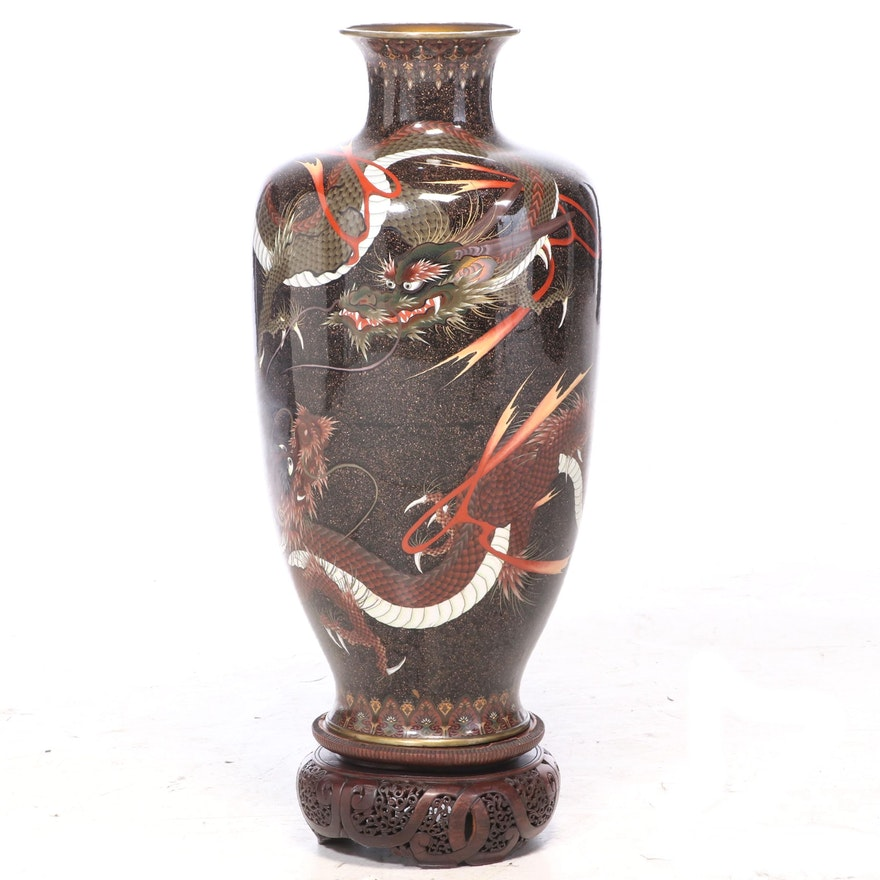 Chinese Dragon Cloisonné Floor Vase with Wood Stand, Mid to Late 20th Century