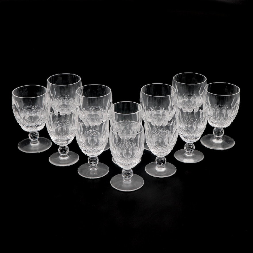 "Waterford Crystal ""Colleen Short Stem"" Water Goblets and Claret Wine Glasses"