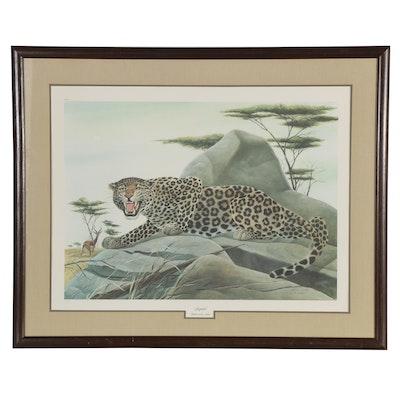 "John A. Ruthven Offset Lithograph ""Leopard,"" Late 20th Century"