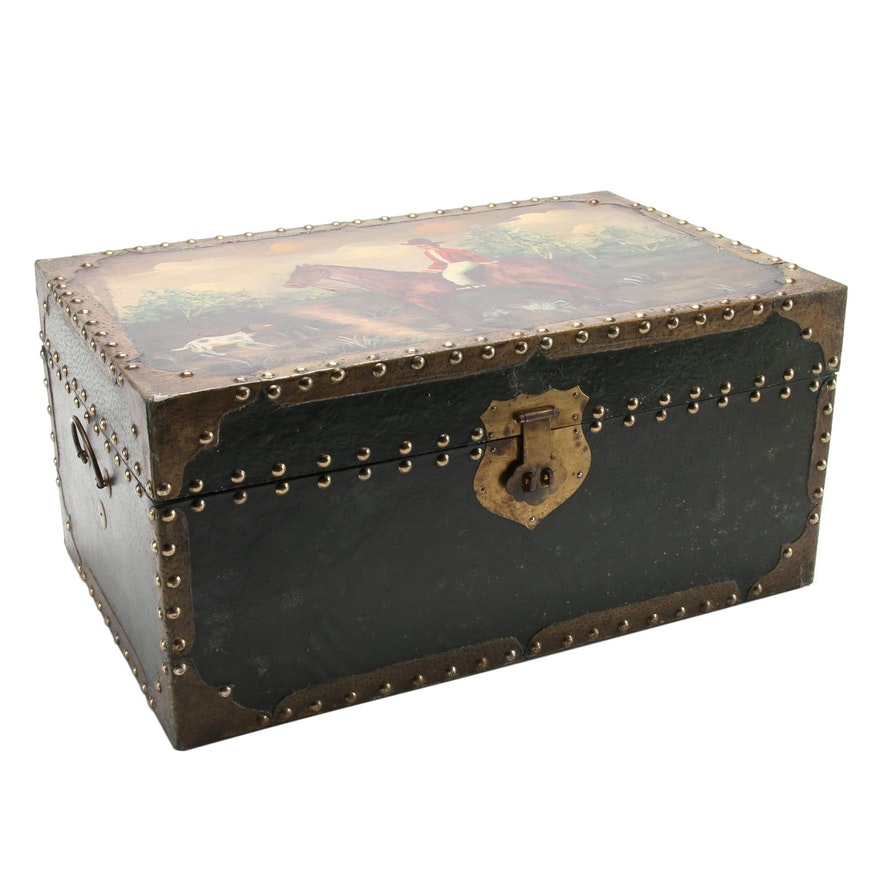 Paper and Metal-Clad Lacquered Wood Trunk with Folk-Painted Equestrian Scene Lid