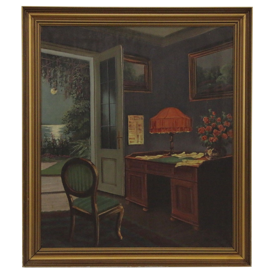 Emil Schneider Oil Painting of Interior Scene, Early 20th Century
