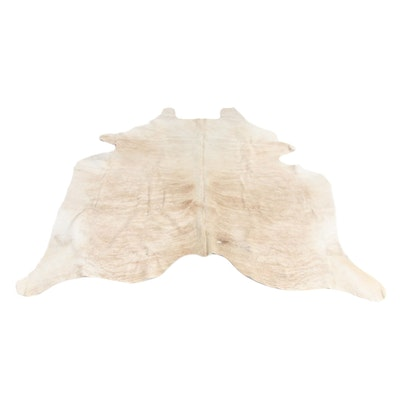 5'11 x 6'2 Natural Branded Cow Hide Area Rug