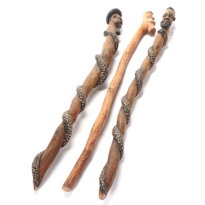 West African Carved Wood Walking Sticks