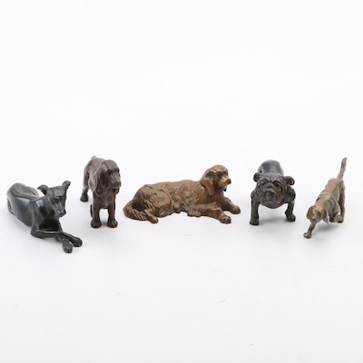 Vintage Cast Brass, Bronze and Mixed Metal Dog Figurines